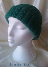 Classic Easy Knit Ribbed Hat Kniting Pattern Adults Fit