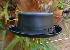 BLACK LEATHER ENGLISH MEN'S & WOMEN'S  PORK PIE / JAZZ HAT VINTAGE STYLE