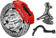 """WILWOOD DISC BRAKE KIT,2"""" DROP SPINDLES & ARMS,FRONT,64-72,12"""" DRILLED,6 PIS RED"""