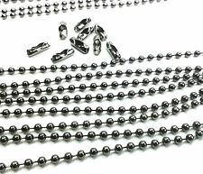 5m gunmetal coloured ball chain 2.4mm gun metal with 10 connectors