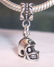 Football Helmet Sports Dangle Bead fits Silver European Style Charm Bracelets
