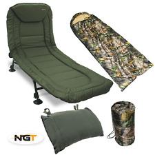 NGT CARP FISHING 6 LEG RECLINER BEDCHAIR + CAMO SLEEPING BAG + BED CHAIR PILLOW