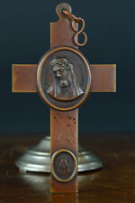 Exceptional large bronze antique religous pectoral cross nun brother 19thc