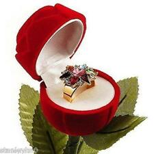 2 Rose Stem Ring Jewelry Velvet Package Presentation Gift Box Case