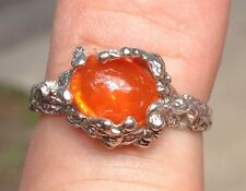 NEW Silver NUGGET RING 9x7mm Bright Clean Fanta Orange MEXICAN FIRE OPAL