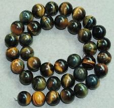 10mm Yellow Blue Tiger's Eye Round Bead 16""