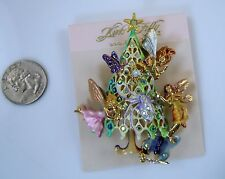 Kirks Folly Fairy Christmas Tree  Pin / Pendant   Gold Finish