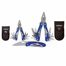 WORKPRO 5PC Outdoor Multi Tool Pliers Knife Stainless Foldaway Camping Survival