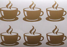 6 xCoffee Cup, Vinyl, Wall Tile Stickers,Decal ,Transfers For Kitchen Wall Tiles