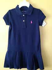 Ralph Lauren toddler girls short sleeve navy pleated hem Pony dress size 3T