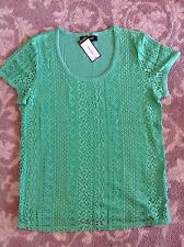 NINE WEST womens round neck GREEN lace front shirt XX-LARGE nwt