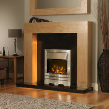 ELECTRIC OAK SURROUND BLACK GRANITE STONE WALL FIRE 2KW MODERN FIREPLACE SUITE