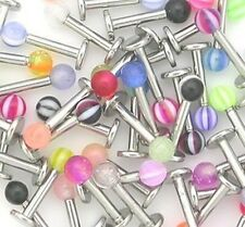 10 x Stainless Steel Ball Top Lip Studs Tragus Ear Rings Monroe Bars Labret