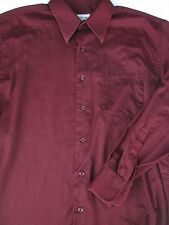 Pronto Uomo Mens Button Front Long Sleeve Burgundy Cotton Shirt 16
