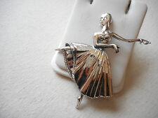 Vintage Lang Sterling Silver Repousse Dancer Brooch  RE2572