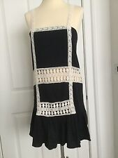 BNWOT CIA.MARITIMA 100% COTTON BEAUTIFUL BLACK/CREAM LACE SUMMER DRESS - SIZE P