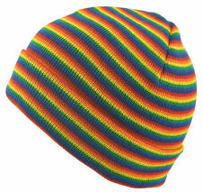 Mens/Ladies Rainbow Colourful Cotton Beanie/Hats, Turn up/Slouchy