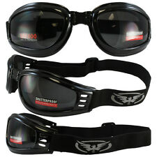 2 Motorcycle Day Night ATV Quad Riding Goggle Googles Smoke Clear PADDED BIKER