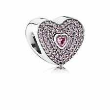 Authentic PANDORA Sterling Silver Pink Pave SweetHeart Heart Charm 791555CZS