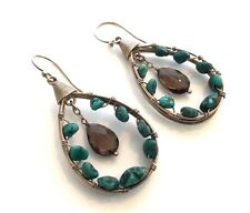 Silpada Sterling Silver Turquoise Smoky Quartz Earrings - W2215