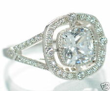 Solid 925 Sterling Silver Cushion Cut Lab Simulated Diamond Solitaire Ring Sz-6'