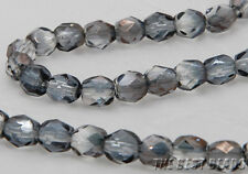 30pcs Grey with Light Gold Half Coating Faceted Rounds Fire Polished Beads 6mm