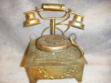 "COPPER METAL OLD STYLE TELEPHONE   MUSIC BOX ""FEELINGS"" HONG KONG"