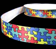"5 Yds Jigsaw Puzzle Kids Kid School Autism Primary Red Blue Satin Ribbon 7/8""W"