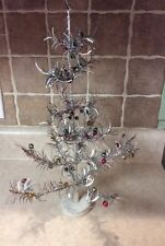 "VINTAGE 17""  SILVER CHRISTMAS FEATHER TREE STYLE WITH MERCURY GLASS BALLS Lovely"