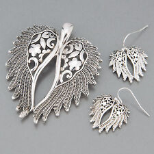 Antique Silver Angel Wing  Filigree Style Pendant With Earrings