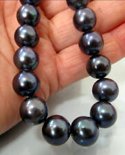 """PERFECT ROUND 18""""L 10-11MM TAHITIAN AAAA NATURAL BLACK PEARL NECKLACE 14K"""