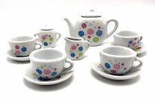 Tea Set Porcelain Polka Dot 13pc Childs Party Playset Cookin For Kids New Age 8+