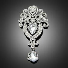 Fashion White Gold Plated Crystal Rhinestone Glass Party Brooches Pins Jewelry