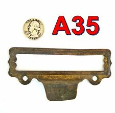 "Antique Brass File Cabinet CARD HOLDER HANDLE 4.5""x1.5"" *A35"""