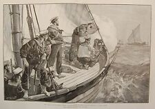 1881 THE EAST AFRICAN SLAVE TRADE STEAM PINNACE HMS LONDON CHASING A SLAVE DHOW
