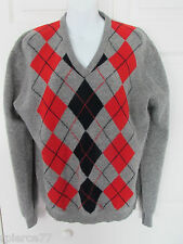TARRA HALL Vintage Argyle V-Neck LS Pullover Sweater 42 Lambswool England