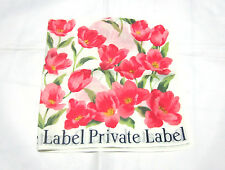 "VINTAGE PRIVATE LABEL TULIP FLORA PATTERN COTTON 17""HANDKERCHIEF HANKY LADIES"