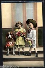 Childrens with Saint Bernard Dog Flowers Real Photo PC Circa 1910 Cane