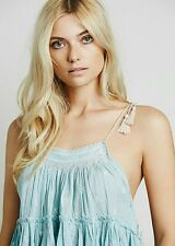 New $128 Free People Magic Power Tank Embroidered Top Blouse Crop Blue Small