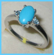 Sleeping Beauty Turquoise Electric Blue Topaz Ring Sterling Silver 925 sz 6 7 9