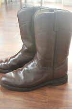 Justin Basics Leather Men's JBL3001 Brown Cow Roper Boots Size 8 C - Gently Used