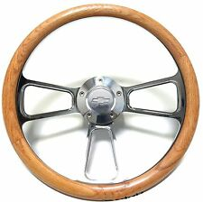 1948 - 1959 Chevy Pick-Up Trucks Real Oak Steering Wheel, Billet Adapter Vintage