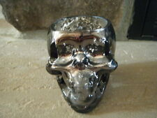 HALLOWEEN SMOKE MIRROR SKULL HEAD CRACKLED GLASS VOTIVE CANDLE HOLDER TEA LIGHT