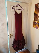 Basix Black Label Burgundy Ribbon Ball Gown Occassion Wear Dress size 8 10 UK