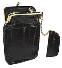 GENUINE EEL SKIN LEATHER CIGARETTE TOBACCO LIGHTER HOLDER SOFT FRAMED CASE Nice