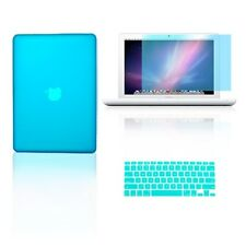 "3 in 1 Rubberized AQUA BLUE Case for Macbook White 13"" + Key Cover +  LCD Screen"