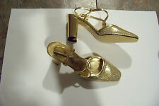 womens pm collection by 9.2.5 gold sparkle strappy heels shoes size 7