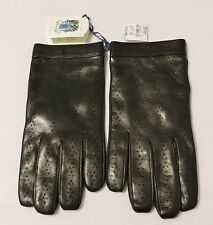 NWT Portolano Espresso Perforated Nappa Leather/Cashmere Lined Mens Gloves Large