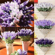1 Bouquet 10 Heads Artificial Lavender Silk Flower Light Purple Wedding Home Dec