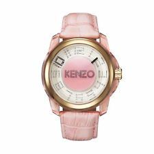 Kenzo K0094003 Unisex Pink Dial Pink Leather Strap 46 mm Quartz Watch -RRP £ 129